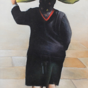 Christine Watson art - pastel on paper - oman carrying a bundle over her head