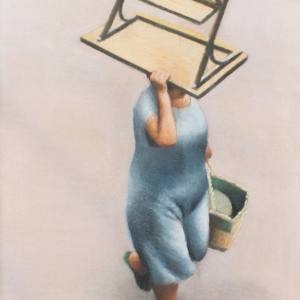 Pastel on paper by Christine Watson - A woman carrying a table over her head