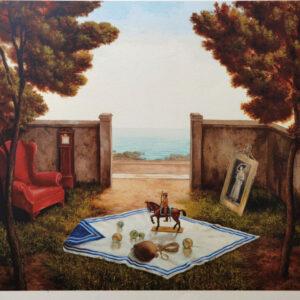 "Angelidis Nikos - lithograph ""Secrete Garden with Red Armchair"